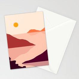 Warm  landscape sunset Stationery Cards