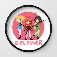 girl power Wall Clocks featuring Girl Power by honey tiger