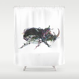 Beetle 1. Color & Black on white background Shower Curtain