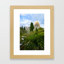 Cinque Torri rock formationas at sunset. Dolomites Framed Art Print