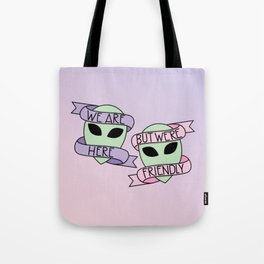 Friendly Aliens (in Unicorn) Tote Bag