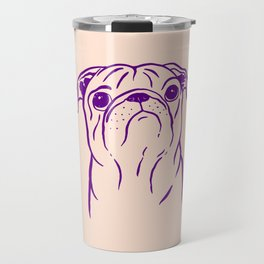 Pug (Peach and Purple) Travel Mug