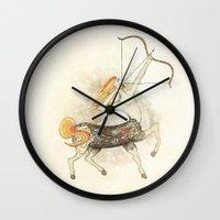 sagittarius Wall Clocks featuring Sagittarius by Vibeke Koehler