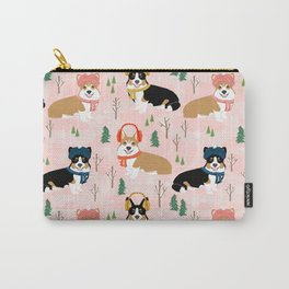 Corgi welsh corgi winter snow day holiday dog breed corgis pattern pet friendly dog person must have Carry-All Pouch