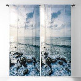 Dusky sky with sea rocks  Blackout Curtain