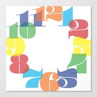 wall clock Canvas Prints featuring Wall Clock - Colourful Numbers by Whistle&Hum