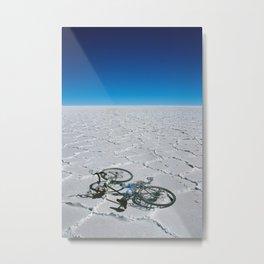 Salar de Uyuni & bicycle Metal Print