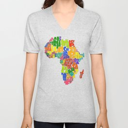 African Continent Cloud Map Unisex V-Neck