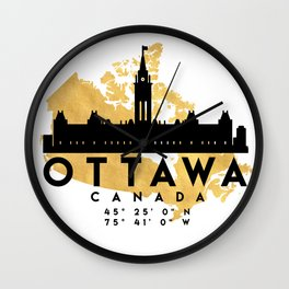 OTTAWA CANADA SILHOUETTE SKYLINE MAP ART Wall Clock