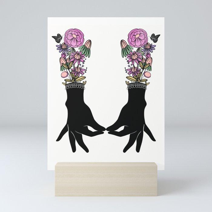 Something Tiny, Folk Art Hands and Botanicals, Pink Mini Art Print