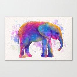 Elephant in Technicolor Canvas Print