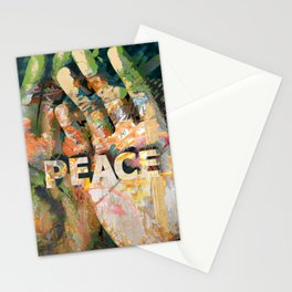 African hand with text Peace Stationery Cards