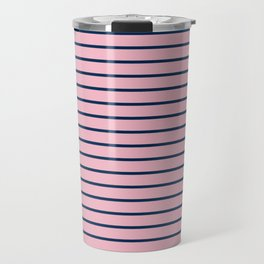 Pink and Navy Blue Horizontal Stripes Travel Mug