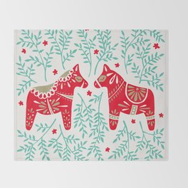 Swedish Dala Horses – Red & Mint Palette Throw Blanket