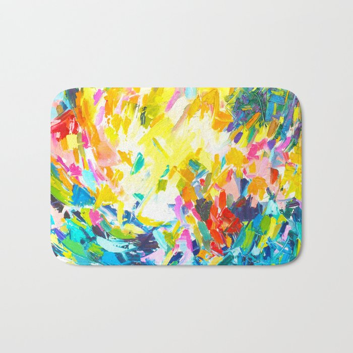 Colorful Contemporary Abstract Painting With Bright Colors And Fun Texture Bath Mat By Melissapolomsky