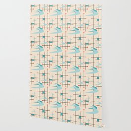 Mid Century Modern Boomerangs, blues on cream Wallpaper