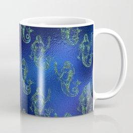 Glitter Gold Mermaid Pattern on Ocean Blue Background Coffee Mug