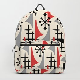 Mid Century Modern Atomic Wing Composition 234 Red and Gray Backpack
