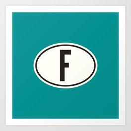 France 'F' Oval Car Sticker Design • Teal Art Print