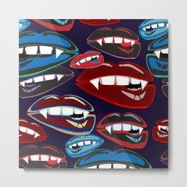 Funky Vampire Lips Metal Print