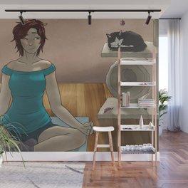 Yoga wit cat Wall Mural