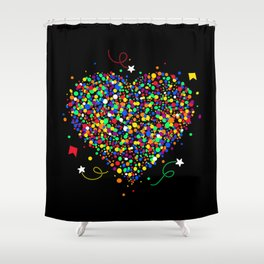 Love made of colorful dots Shower Curtain