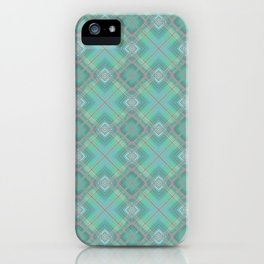Blue green plaid . iPhone Case