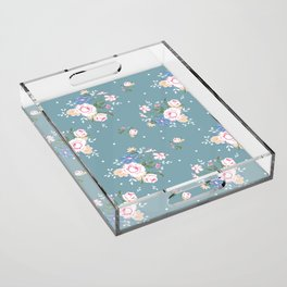 Heirloom Rose - Teal Acrylic Tray