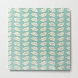 Beige leaves on Turquoise Metal Print