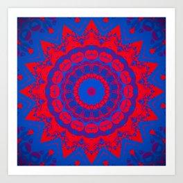 Vibrant Blue Red Mandala Art Print