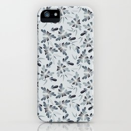 Grey Blue Floral iPhone Case
