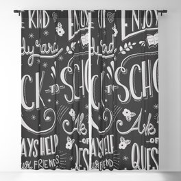 Back to school typography drawing on blackboard with motivational messages, hand lettering Blackout Curtain