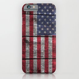 USA flag - on grainy wood iPhone Case