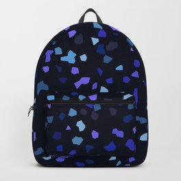 black space terrazzo marble pattern blue pieces Backpack