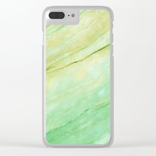 Light green marble Clear iPhone Case