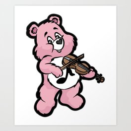 TEDDY BEAR VIOLIN Art Print
