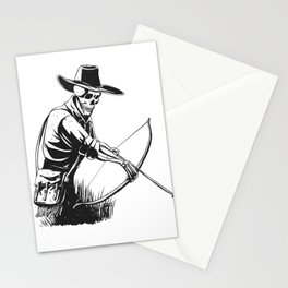 Cowboy skeleton with crossbow - black and white - gothic skull cartoon - ghost silhouette Stationery Cards