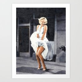 The Seven Year Itch, Marilyn in a White Dress Subway Grate Scene portrait painting Art Print