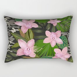 Jungle Warrior With Pink Orchid and Camouflage Pattern Rectangular Pillow