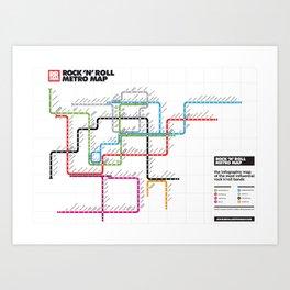 Rock'n'Roll Metro Map Art Print