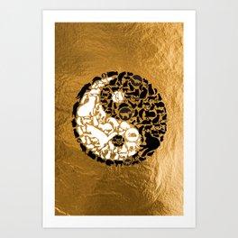 Yin-Yang Cats - Gold Art Print