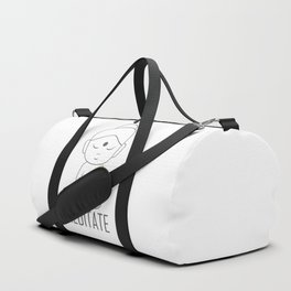 Gautama buddha sitting in lotus position with a message to Meditate Duffle Bag