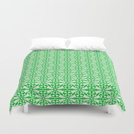 Granny Apple Green Cool Mint Green Diamonds Within Diamonds Pattern Southwestern Design Pattern Duvet Cover