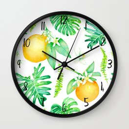 Citrus Tropics - White Wall Clock