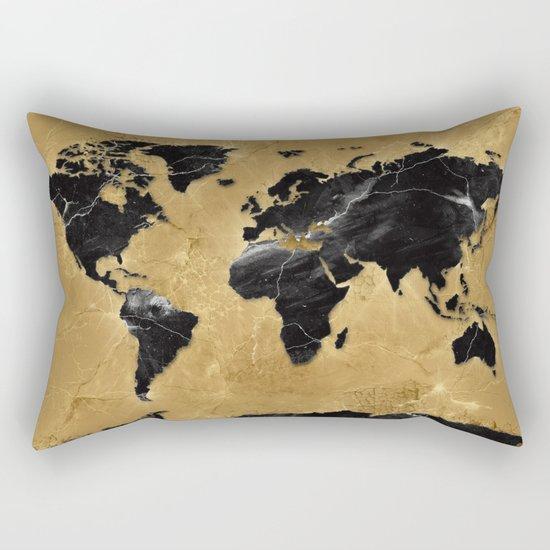 world map marble gold 2 Rectangular Pillow