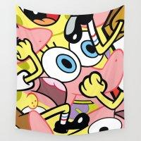 spongebob Wall Tapestries featuring Spongebob by Startled Artist