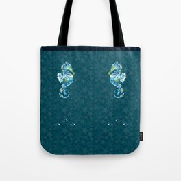 Seahorses and Tropical Fish on a background of Starfish and Shells Tote Bag