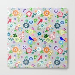 Whimsical Spring Flowers in Grey Metal Print