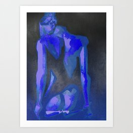 Beautiful Young Woman Wearing Plaits and Panties (Blue) Art Print