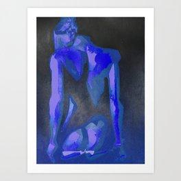 Beautiful Young Woman Wearing Plaits and Panties (Blue) Art Print